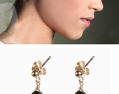Black swarovski earrings - Gold Filled Earrings With a Drop Shaped Swarovski Crystal