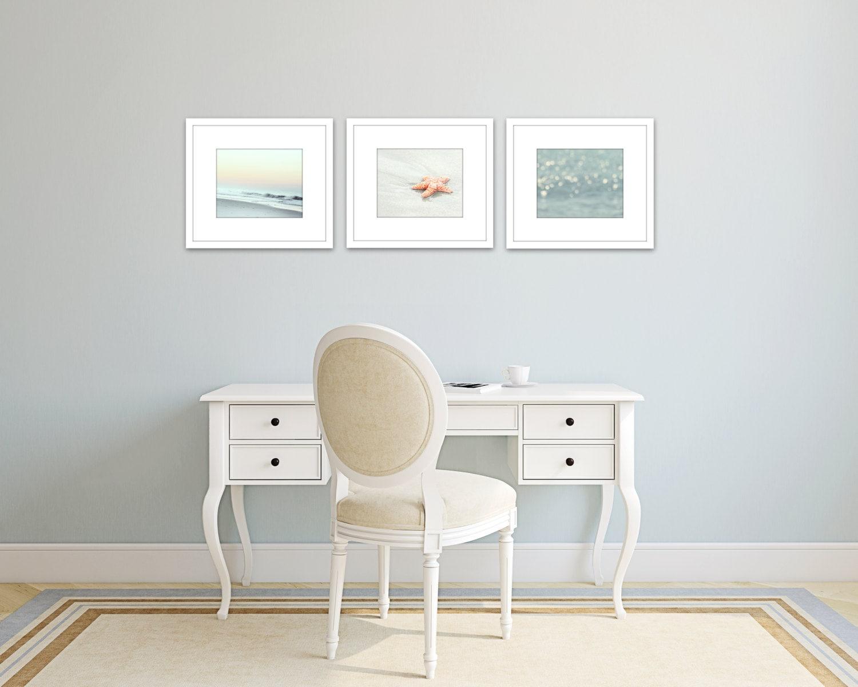 Wall Decor Set Of Three : Coastal decor set of prints beach wall art photos