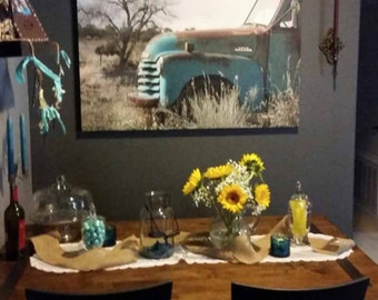 Oversized Old Blue Chevy Truck Large Art 30x40 Vintage 1952 Chevy Truck Antique Aqua Pickup Turquoise Blue Farm pickup  XLarge Giclee Print