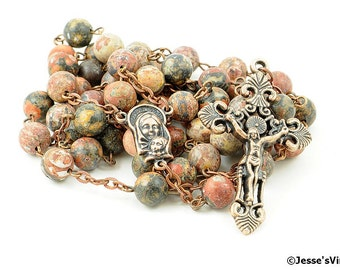 Leopardskin Jasper Rosary Antique Copper Traditional Rustic Catholic Rosary Beads