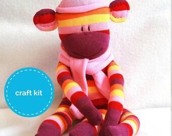 Sock Monkey Craft Kit - Purple, Pink and Yellow strips, DIY Kits