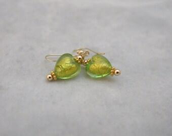 Venetian Glass Earrings Green Hearts