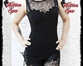 spiderweb lace assymetric top