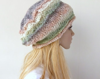 Slouchy beanie hat  Hand Knit Hat Beanie Beret Slouchy Hat in pastel colors  Spring womens hat