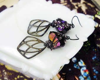 Rustic Assemblage Earrings - Raw Violet Titanium Crystal Points over Vintage Metal Charms - Steel Wire Beaded Wrapping