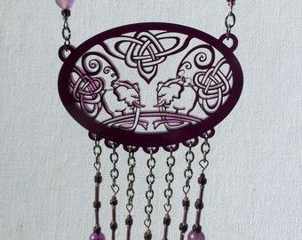 Purple Elephant Fringe Necklace - Beaded Statement Necklace - Unique Elephant Pendant Laser Cut from Original Drawing by Laura Cesari