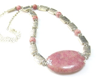 Pink Rhodonite Necklace, Mauve PInk Necklace, Engraved Silver Beads, Adjustable Necklace, Silver Chain, 20 to 22 Inches, Handmade Jewellery