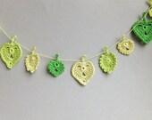 Spring leaves garland - spring Wedding decor - crochet leaves garland - green leaves decoration -green wedding decorations ~ 30 inches