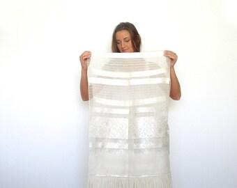 40s Sheer Ivory Metallic Floral Filigree Fringed Blanket Scarf