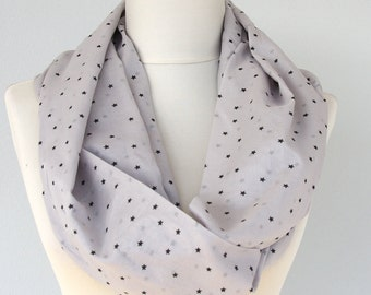 Star printed scarf gray infinity scarf fall scarves for women circle scarf loop scarf  autumn fashion scarves christmas gift idea for her