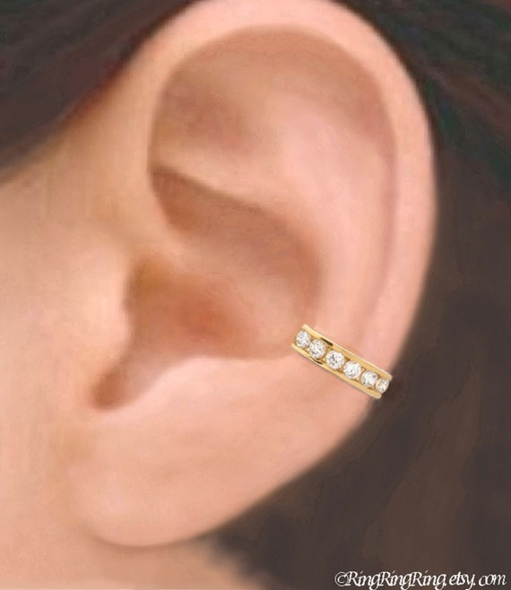 Quality CZ Gold ear cuffs, Gold earrings, Unique Cubic Zirconia earcuff jewelry for men and women, Left, Right, Pair