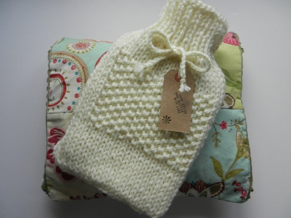hot water bottle cover chunky knit cream by LafantUK on Etsy
