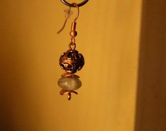 Green garnet and copper earrings--french hook ear wire