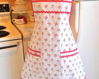 Cottage Chic Full Apron with Pink Roses MADE TO ORDER