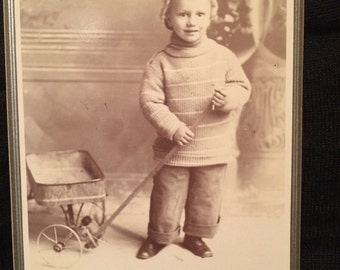 Antique Cabinet Photo - Boy with Wagon - San Jose California - Old Photo - Cabinet Card