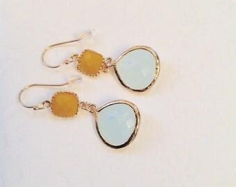 Opal Earrings, Dangle earrings, Opal Jewelry, Bridesmaids earrings, Mustard and opal blue glass earrings, Wedding earrings, Blue earrings
