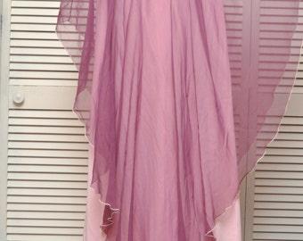 Vintage Women's 70s Formal Dress/Greek Goddess/Full Length/Purple Pink/Flowing Handkerchief Hem Sheer Shell/A Line/Costume Prom/Lily Lynn