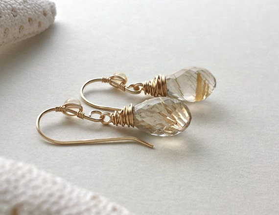 Golden quartz earrings gold rutilated quartz gold quartz for Golden rutilated quartz jewelry