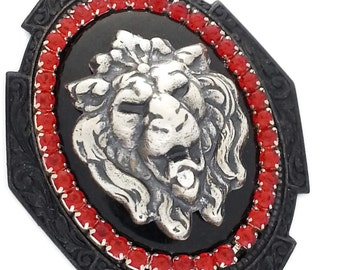 Gothic Lion Cameo Necklace in Black, Silver and Red on Black Plated Brass by Dr Brassy Steampunk