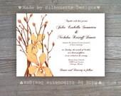 Wedding Invitation, Fall Wedding, Fall Bridal Shower, Orange Orchids, Summer Wedding, Digital Printable File OR Professionally Printed Cards