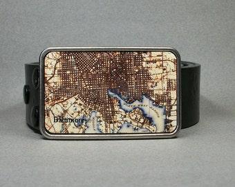 Belt Buckle Vintage Baltimore Maryland Map Cool Gift for Men or Women