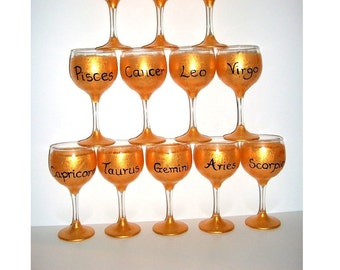 Personalized Zodiac Hand Painted Wine Glasses with Your Sign Name and Symbol  Your Name and Birth Date One 11 1/2 oz Handpainted Wine Glass