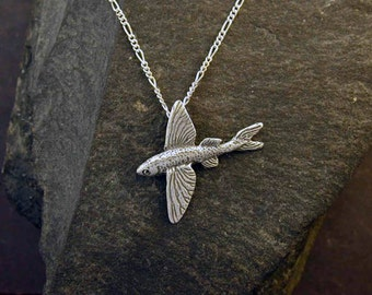 Sterling Silver Flying Fish Pendant on a Sterling Silver Chain.