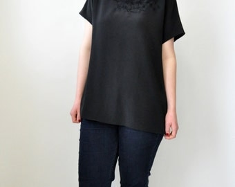 Black Embroidered Silky Blouse