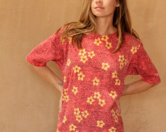vintage women's 90s sunflower SHIRT grunge blossom oversize shirt