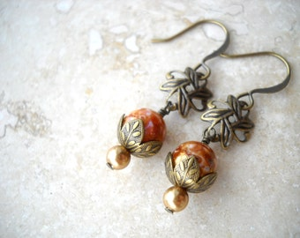 Vintage style brass earrings with amber glass: Aureate - drop earrings, handmade earrings, antique style, romantic earrings, brass jewelry