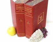Vintage Dictionary / Red Decorative Books / Funk Wagnall Hard Cover Volumes Set of 2