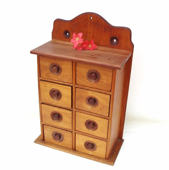Antique wood storage with drawers wooden cabinet by