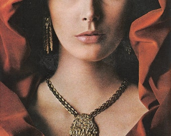 "1966 MONET Costume Jewelry Ad - Marchesa Collection ""In the Golden Manner"" - Master Jeweler - Magazine Ad - Wall Art"