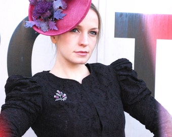 Pink thistle saucer hat with scottish thistle
