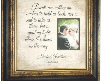 Wedding Gift To Parents of the Bride, Groom Parents Gift, Personalized Thank You, 16x16