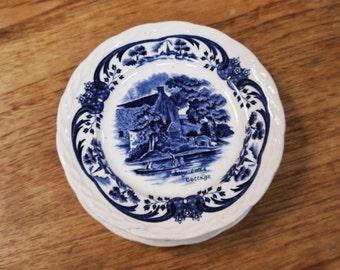 Blue & White Transfer Ware Cake Plates x 5