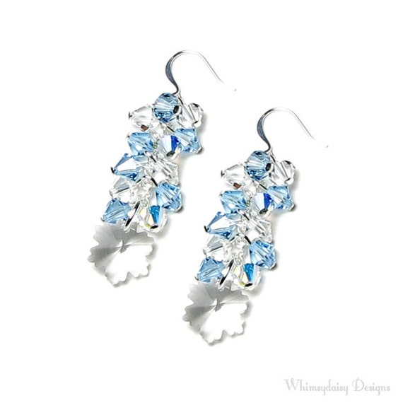 swarovski snowflake earrings snowflake earrings swarovski by whimsydaisydesigns 9969