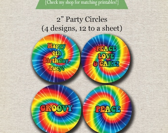 Rainbow Tie Dye Party Circles | Spin Art Party Circles | Tie Dye Cupcake Toppers | Tie Dye Birthday Party Printables | Groovy Peace