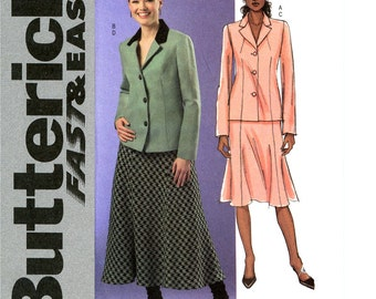 Womens Suit Pattern Uncut Butterick B4616 Business Office Fitted Jacket Blazer Contrast Collar Bias Flared Gored Skirt Womens Sewing Pattern