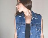 Star Studded Denim Vest 90s Dark Wash Blue Jean Vest Vintage Button Up Waistcoat Shaver Lake Medium M / Large L