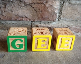 Vintage Wood Blocks Letters GEE Childrens Wooden Alphabet Toy Yellow & Green