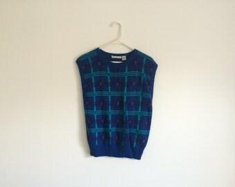 1980s HIPSTER geometric plaid sweater vest