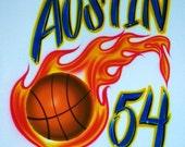 Airbrush T Shirt Basketball Name Number, Airbrush Basketball Shirt, Basketball Shirt, Airbrushed Basketball Team Name And Number Shirt