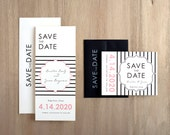 "Striped Save the Dates, Black and White Save the Date Cards, Pink Wedding, Modern Wedding - ""Modern Lace"" Save the Dates"