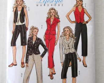 2000s Jacket Vest Cropped Pants Pattern, Butterick B4998 Womens Separates Sewing Pattern Size 16-20 Bust 38-42 UNCUT