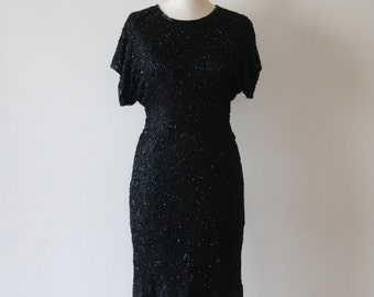 Dress Sequin Black Beaded Silk - Women's Small - Wiggle Disco - 1980s Vintage