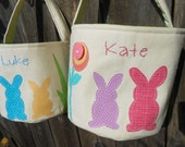 Personalized Easter Basket with Easter Bunny |  Pink/Purple Bunnies or Teal Blue/Yellow Bunnies | HANDMADE Canvas Fabric Easter Basket