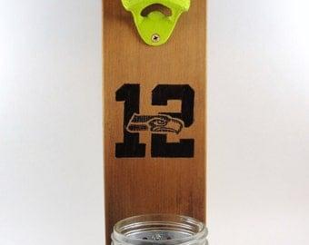 wall mount bottle opener cedar Seattle Seahawks mason jar cap catcher team logo burnt 12th man