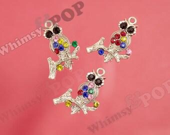 Small Silver Tone Rainbow Bling Owl Crystal Rhinestone Charm Pendant, Owl Charm, 26mm x  33mm (5-1H)