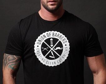 Men's T-shirt Sale - T-shirt - Men's clothing - black tshirt short sleeve with white screen print graphic - Barber Union - unisex apparel